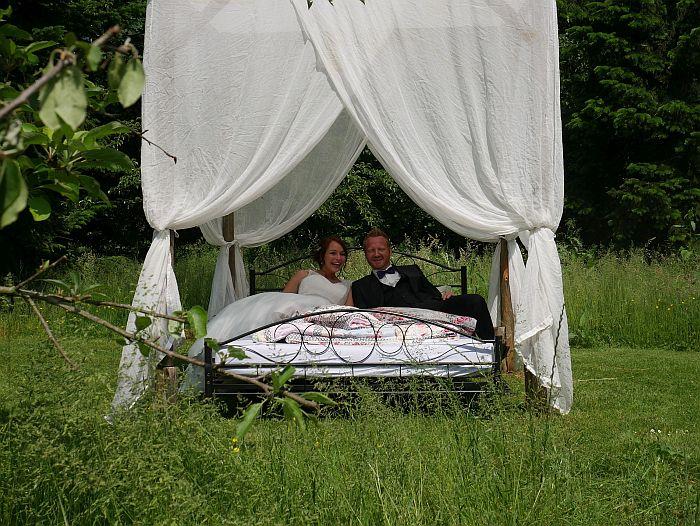 Himmelbett - Schlafzimmer im Grünen Ferienhof Werner