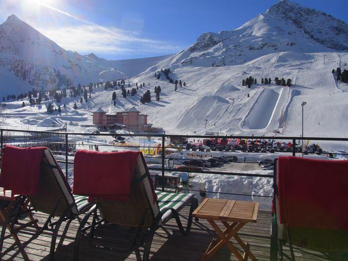 Jagdschloss Kühtai Terrasse Skigebiet Ski