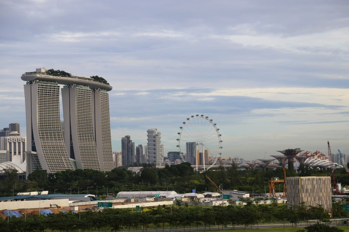 Singapur vom Hafen auf die Marina Bay
