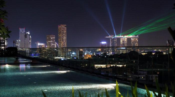 Ausblick auf Lasershow Marina Bay Sands