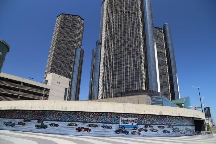 Detroit Streetart GM General Motors Renaissance Center